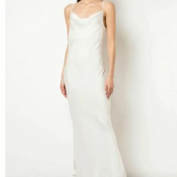 RE:Named New M White Maxi Dress Cowl Neck & Back
